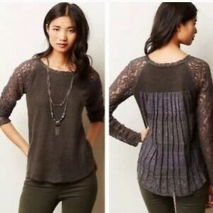One September. Anthropologie brand. Gray lace top.